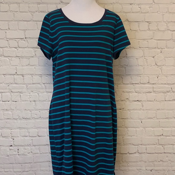 Faded Glory Dresses & Skirts - Navy Blue with Teal Stripe Jersey Dress